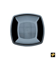 Prato Plastico Raso Preto Square PS 180mm (300 Uds)