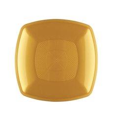 Prato Plastico Raso Ouro Square PP 230mm (300 Uds)