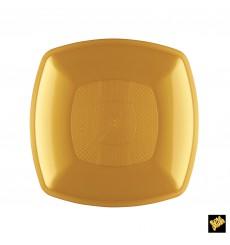 Prato Plastico Raso Ouro Square PP 180mm (300 Uds)