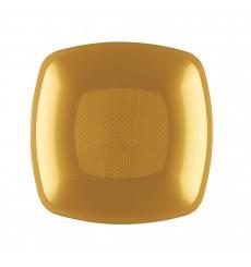 Prato Plastico Fundo Ouro Square PP 180mm (300 Uds)