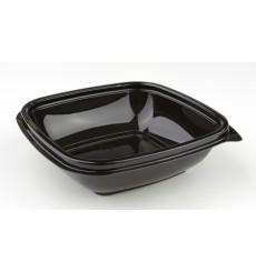 Tigela Plastico Quadrado Preto PET 250ml 125x125x40mm (50 Uds)