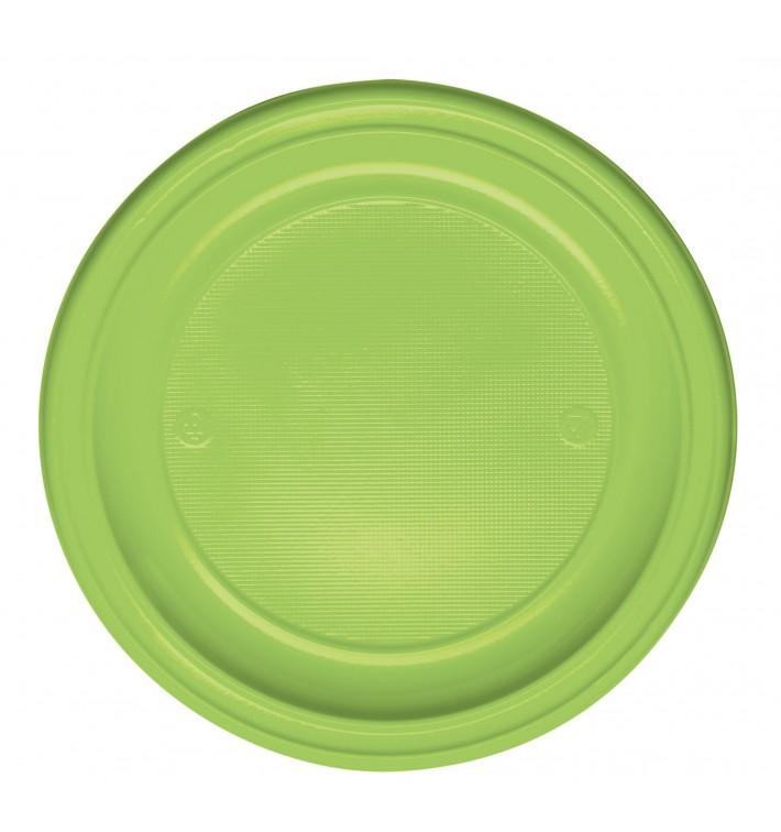 Prato Plastico PS Raso Verde Limão Ø220 mm (30 Unidades)