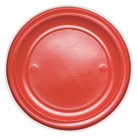 Prato Plastico PS Raso Vermelho Ø220mm (30 Unidades)