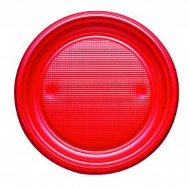 Prato Plastico PS Raso Vermelho Ø170mm (50 Unidades)