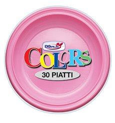 Prato Plastico PS Fundo Rosa Ø220mm (30 Unidades)