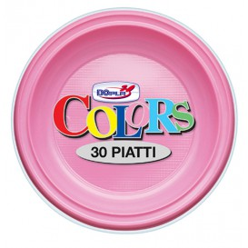 Prato Plastico PS Fundo Rosa Ø220mm (600 Unidades)