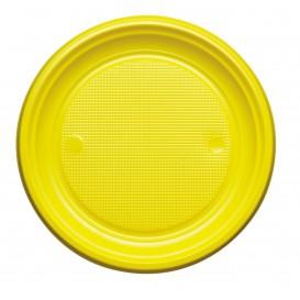 Prato Plastico PS Raso Amarelo Ø220mm (30 Unidades)