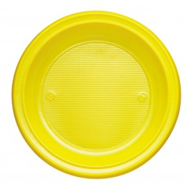 Prato Plastico PS Fundo Amarelo Ø220mm (30 Unidades)