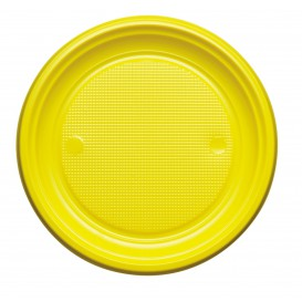 Prato Plastico PS Raso Amarelo Ø170mm (50 Unidades)