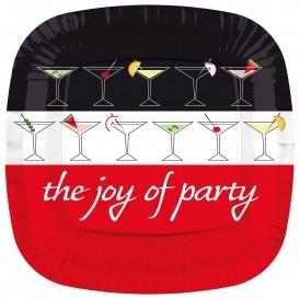 """Prato Cartone Quadrado """"Joy of Party"""" 230mm (8 Unidades)"""
