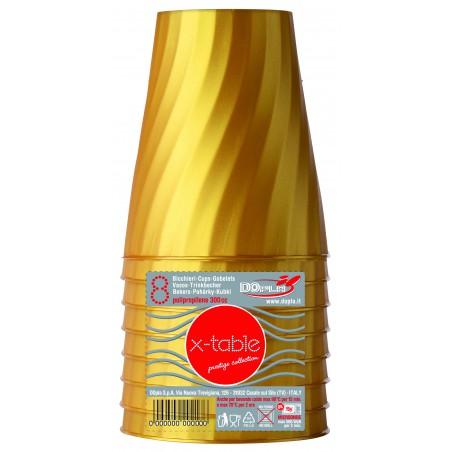 Copo de Plastico Ouro PP 320ml (8 Unidades)