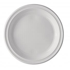Prato Plastico PS Raso Branco 205mm (100 Unidades)