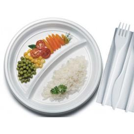 Prato Plastico PS 2 Compar. Branco 220mm (100 Unidades)