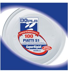 Prato Plastico PS 1 Compar. Branco 220mm (100 Unidades)