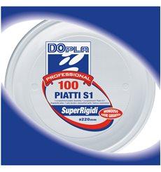 Prato Plastico PS 1 Compar. Branco 220mm (1400 Unidades)