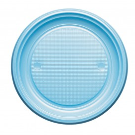 Prato Plastico PS Raso Azul Claro Ø220mm (30 Unidades)