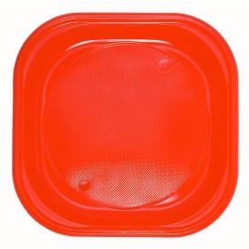 Prato Plastico Quadrado PS Raso Laranja 200x200mm (30 Unidades)