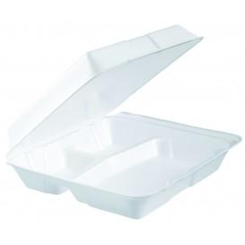 Embalagem Foam MenuBox 3 C. Divisível Branco 240x235mm (100 Uds)