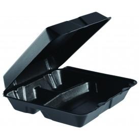 Embalagem Foam MenuBox 3C. Divisível Preto 240x235mm (100 Uds)