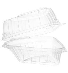 """Embalagem Tampa Bisagra OPS """"Clear Seal"""" Porção Bolo 169ml (250 Uds)"""