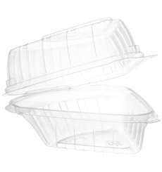 """Embalagem Tampa Bisagra OPS """"Clear Seal"""" Porção Bolo 169ml (125 Uds)"""