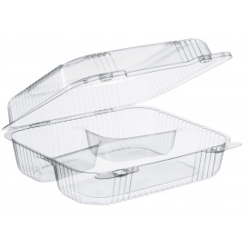 """Embalagem Plastico OPS 3 C. """"StayLock"""" Bisagra Transp. 830ml (250 Uds)"""