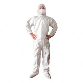 Fato de Proteção TST PP Plastificado Capuz e Fecho Zíper Tamanho M (50 Uds)
