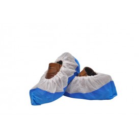 Cobre Sapatos TST de PP Branco com Sola Reforçada CPE Azul (500 Uds)