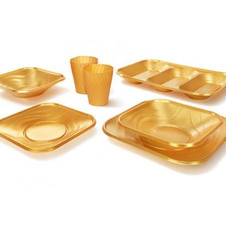 """Copo de Plastico PP """"X-Table"""" Ouro 320ml (8 Unidades)"""