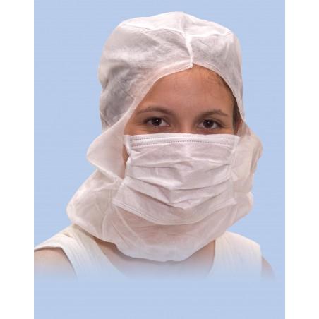 Touca Integral com Máscara 3 Capas Branco (100 Uds)