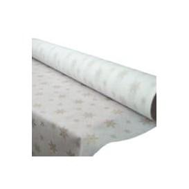 """Toalha em Rolo Não Tecido Branco desenho """"Estrelas"""" 1,2x50m 50g (1 Ud)"""