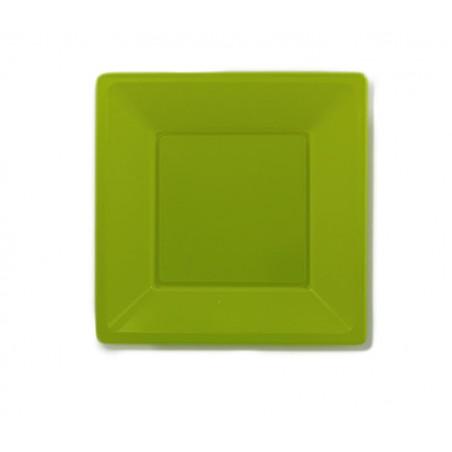 Prato Raso Quadrado Plástico Pistache 230 mm (3 Uds)