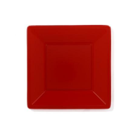 Prato Raso Quadrado Plástico Vermelho 230mm (750 Uds)