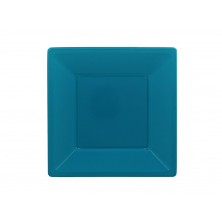 Prato Raso Quadrado Plástico Turquesa 170mm (750 Uds)
