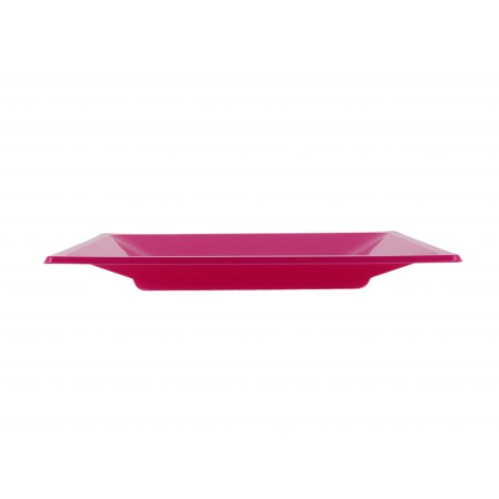 Prato Raso Quadrado Plástico Fúcsia 230mm (25 Uds)