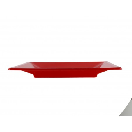 Prato Raso Quadrado Plástico Vermelho 170mm (750 Uds)