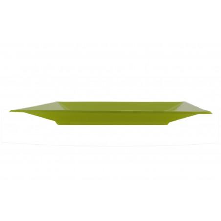 Prato Raso Quadrado Plástico Pistache 170 mm (300 Uds)
