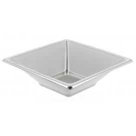 Tigela de Plastico PS Quadrada Prata 12x12cm (750 Uds)