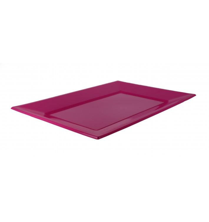 Bandeja Plastico Rectangular Fúcsia 330x225mm (180 Uds)