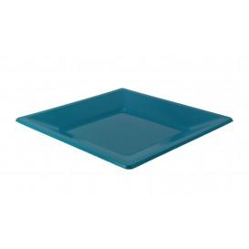 Prato Raso Quadrado Plástico Turquesa 230mm (750 Uds)