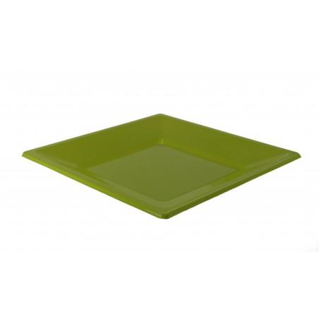 Prato Raso Quadrado Plastico Pistache 230 mm (180 Uds)