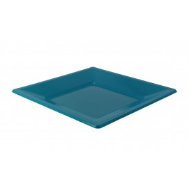 Prato Raso Quadrado Plástico Turquesa 230mm (180 Uds)