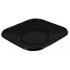 "Prato Plastico PP ""X-Table"" Quadrado Raso Preto 230mm (8 Unidades)"