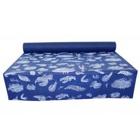 """Toalha em Rolo Não Tecido Azul desenho """"Marisco"""" 1,2x50m 50g (6 Uds)"""