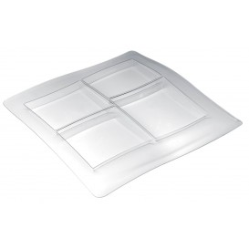 Bandeja de Plastico FoodPoker 4 Comp. 360x360 mm (12 Uds)