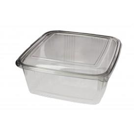 Embalagem Plastico Quadrado Tampa Bisagra PET 2000ml (50 Uds)