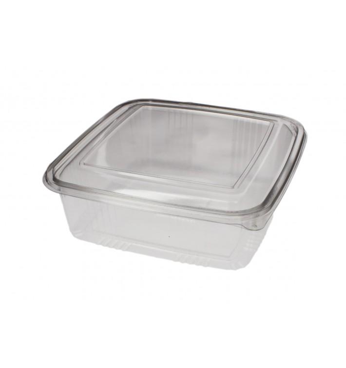 Embalagem Plastico Quadrado Tampa Bisagra PET 1500ml (50 Uds)