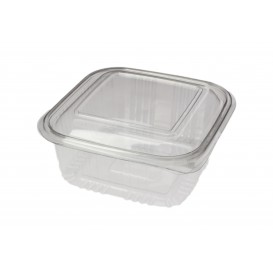 Embalagem Plastico Quadrado Tampa Bisagra PET 500ml (100 Uds)