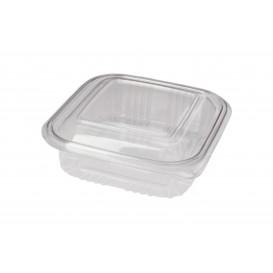 Embalagem Plastico Quadrado Tampa Bisagra PET 370ml (100 Uds)