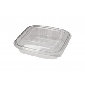 Embalagem Plastico Quadrado Tampa Bisagra PET 250ml (900 Uds)